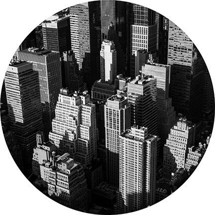 black and white image of buildings in New York City