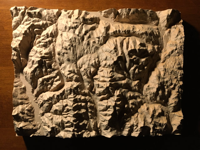 preview of three-dimensional wood-carved relief map of the mountains of the Rossland Range in the Kootenays, British Columbia, Canada