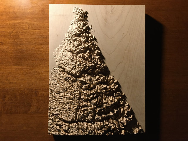 preview of three-dimensional wood-carved relief map of the mountains of the Torngat Mountains, Labrador, Canada