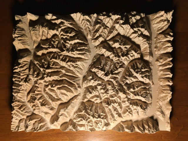 preview of three-dimensional wood-carved relief map of the mountains of Valhalla & Kokanee Glacier, British Columbia, Canada