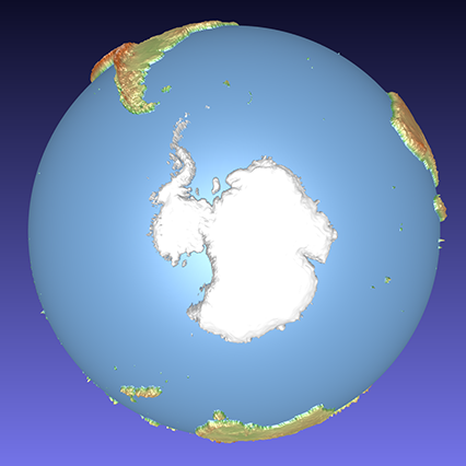 coloured computer model of a 3D relief globe showing the Antarctic
