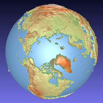 coloured computer model of a 3D relief globe showing the Arctic