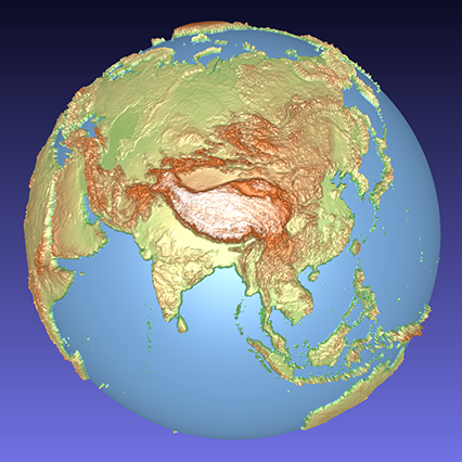 coloured computer model of a 3D relief globe showing Asia