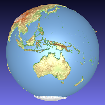 coloured computer model of a 3D relief globe showing Australia and surrounding islands