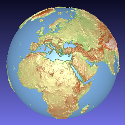 coloured computer model of a 3D relief globe showing Europe and Africa