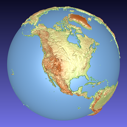 coloured computer model of a 3D relief globe showing North America