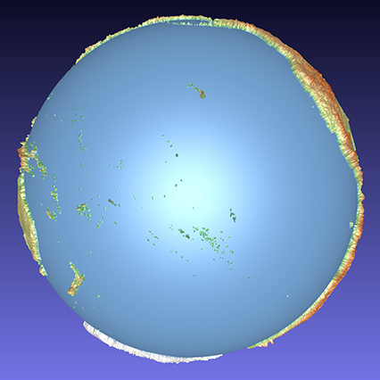 coloured computer model of a 3D relief globe showing the Pacific