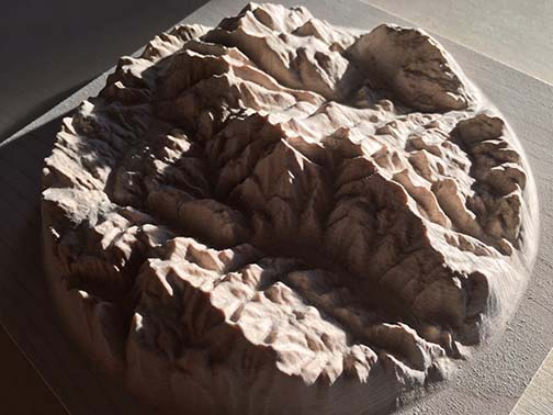3D relief map of the Rossland Range, carved out of wood