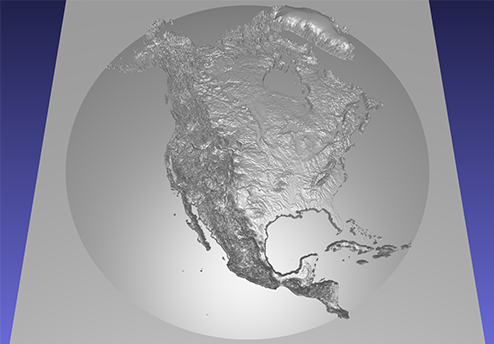 computer model of a 3D relief map of North America, on a dome