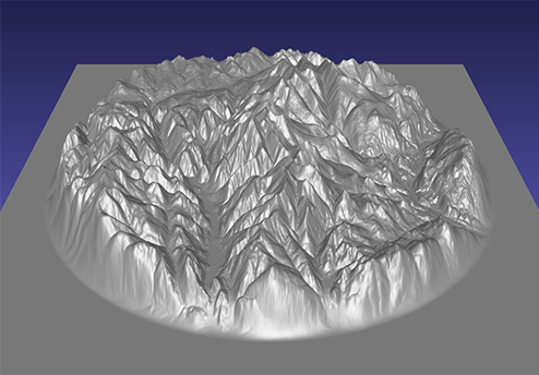 computer model of a 3D relief map of the Rossland Range