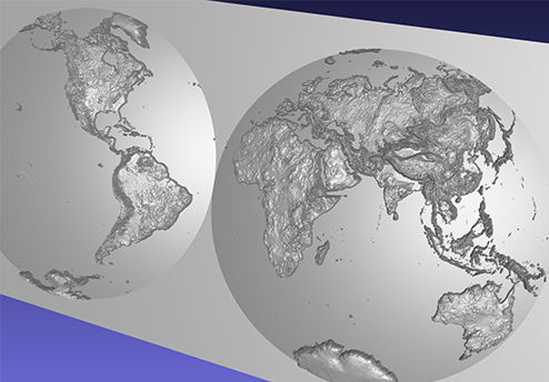 computer model of a 3D relief map of the world, using the Nicolosi projection, on a double dome