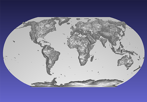 computer model of a 3D relief map of the world, using the Robinson projection