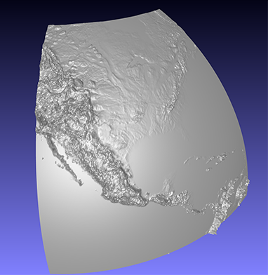 computer model of a piece of a 3D relief globe showing parts of North and Central America