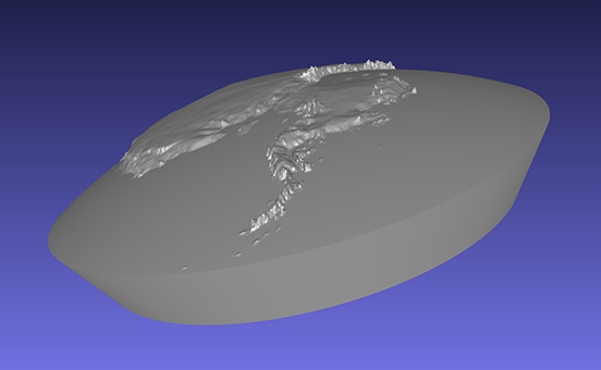 computer model of a piece of a 3D relief globe showing the Antarctic