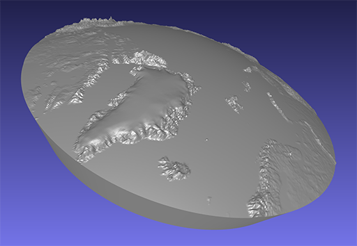 computer model of a piece of a 3D relief globe showing the Arctic