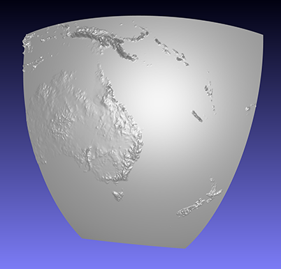 computer model of a piece of a 3D relief globe showing parts of Australia and surrounding islands