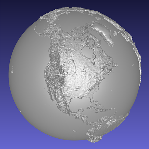 computer model of a 3D relief globe
