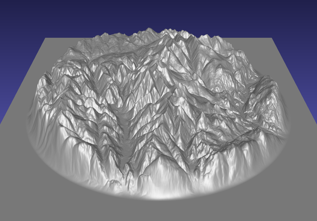 computer model used to carve a three-dimensional relief map of the mountains of the Rossland Range