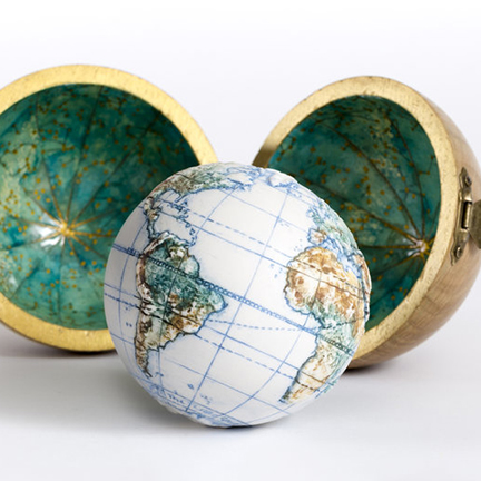 Land and Sea porcelain pocket globe from The Little Globe Co