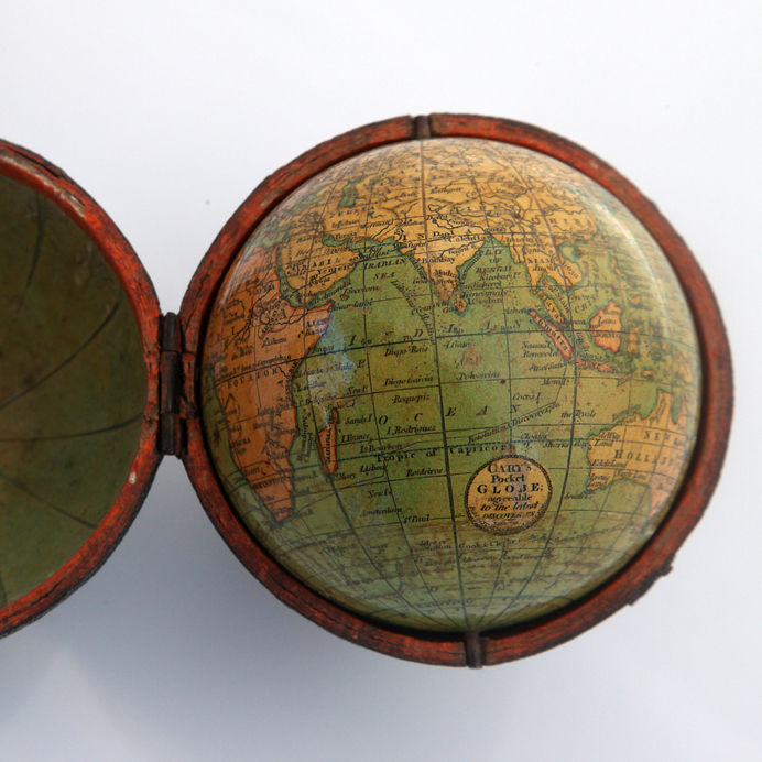 1791 pocket globe by the globemakers J. and W. Cary, London, from Murray Hudson