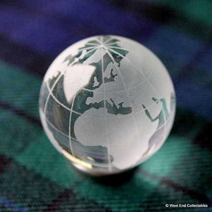 Clear Frosted Glass Earth Globe Marble from West End Collectables